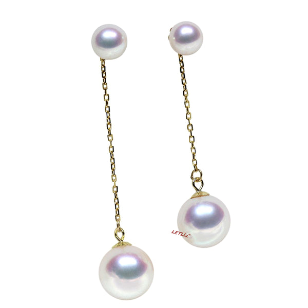 LilyTreacy Japanese Akoya Pearl 14K & 18K Solid Gold stud dangle Earrings Pendant set Bridal