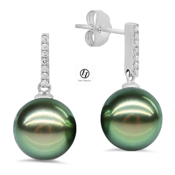 Lily Treacy 10-11mm Tahitian Pearl Gold and Diamond Accents Celina Earrings
