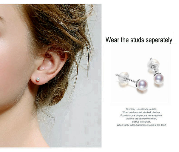 Lily Treacy Japanese Akoya pearl & Tahitian pearl solid gold Bianca combination earrings bridal