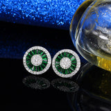 CZ Stud Earrings simulated diamond, ruby, sapphire, emerald halo earrings in lighted box
