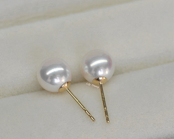 Lily Treacy Japanese Akoya Saltwater Pearl 18K 14K Solid Yellow Gold Stud Earrings 7.5-8mm
