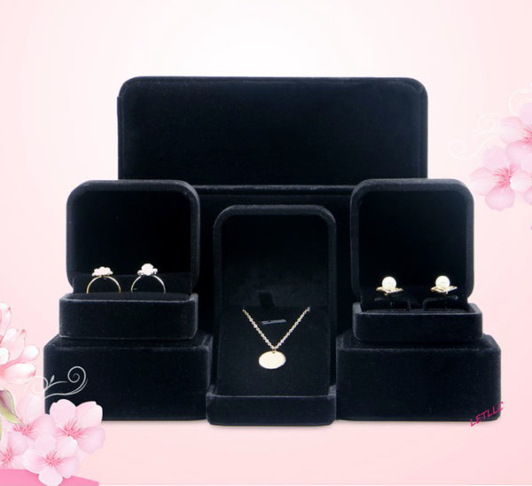Deluxe Large Jewelry Set Gift box Black Beige(white) Velvet for Necklace Earrings Rings or Pearl Set