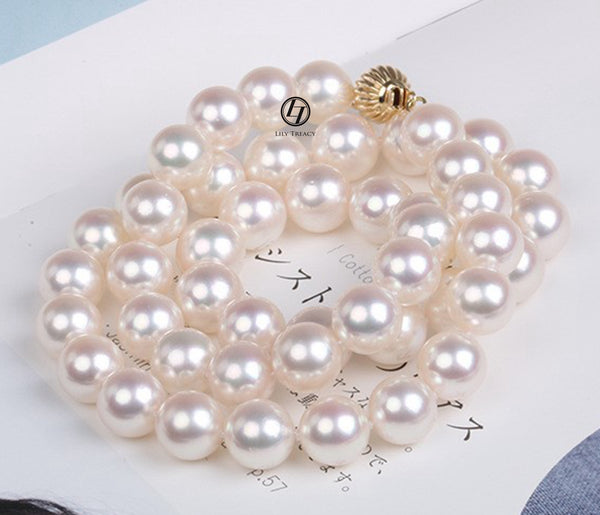 "Lily Treacy Akoya Pearl Necklace strand 8-8.5mm 14K gold clasp Japanese white 18"" bridal wedding"