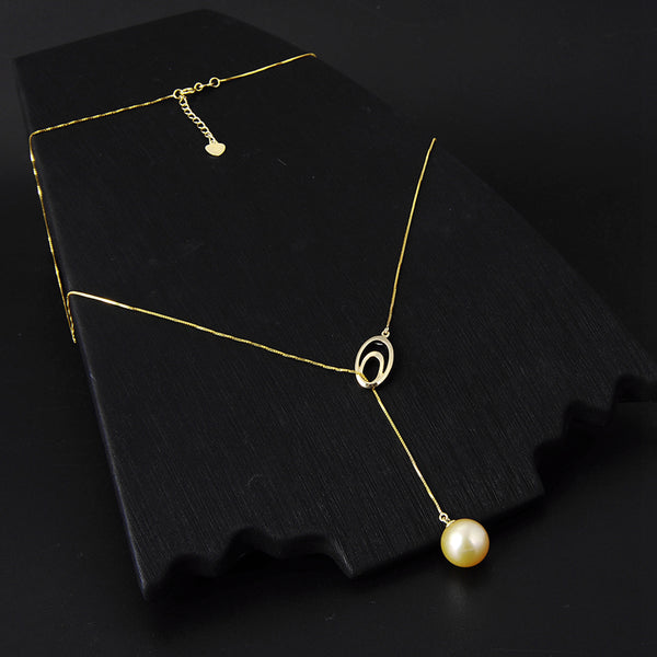Lily Treacy 10-11mm Golden South Sea Pearl 18K Yellow Gold Pendant Necklace Up to 20""