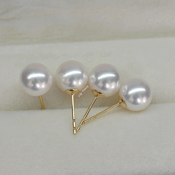 Lily Treacy Japanese Akoya Saltwater Pearl 18K Solid Yellow White Gold Stud Earrings 7.5-8mm Bridal