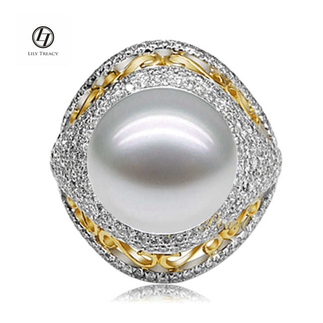 LILY TREACY 13-14MM WHITE SOUTH SEA PEARL DIAMOND CLEO RING Bridal