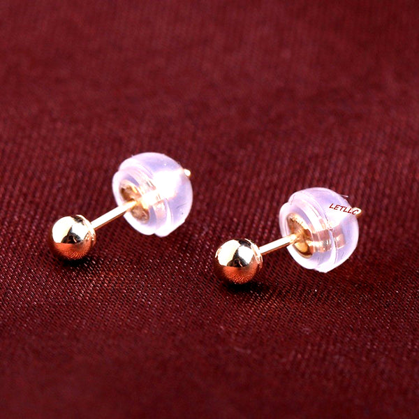 18K Yellow Gold Ball stud Earrings Women Men Unisex 3mm or 4mm