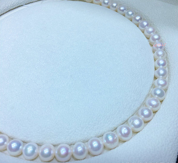 8.5-9.5mm White Freshwater Pearl Lustrous loose pearl fully drilled Strand Necklace WITHOUT clasp
