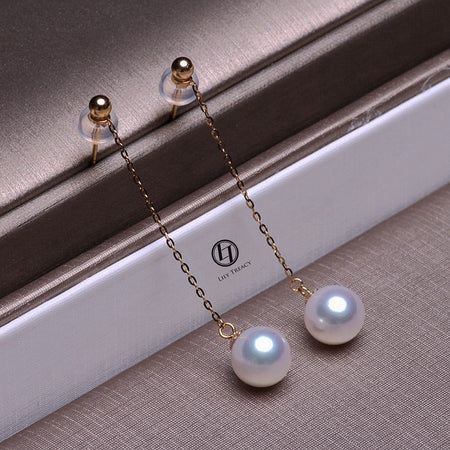 LilyTreacy Akoya Pearl Drop Dangle Hook Earrings 18K Solid Gold white bridal 7.5-8 OR 8-8.5mm