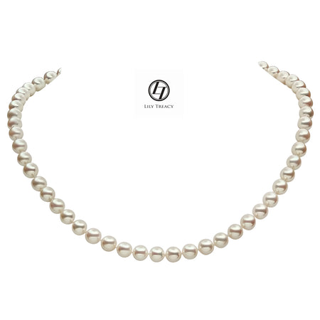 Lily Treacy 9-10mm Freshwater Pearl Metallic multi-color Necklace Strand with Top CZ Fancy Clasp