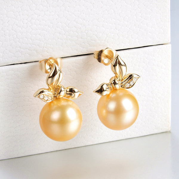 Lily Treacy 10-11mm Golden South Sea Pearl Solid Yellow Gold and Diamond Elaine Earrings