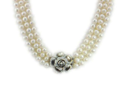 7-8mm white Freshwater Pearl 3 Row Necklace with Mother of Pearl Flower Clasp