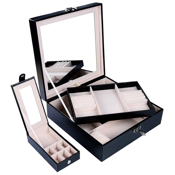 Lily Treacy Wooden Jewelry Make up Organizer Case Box 2-tray with Extra Travel case