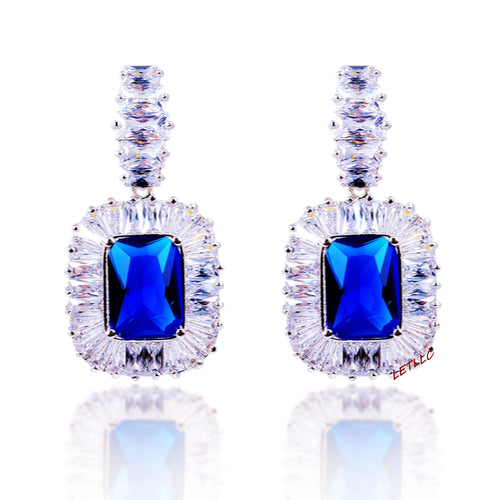 CZ Dangle Drop Earrings 5ct Simulated Sapphire in LED light box Vintage Style blue by Lily Treacy