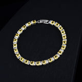 Tennis Bracelet CZ Princess Cut White Yellow 7