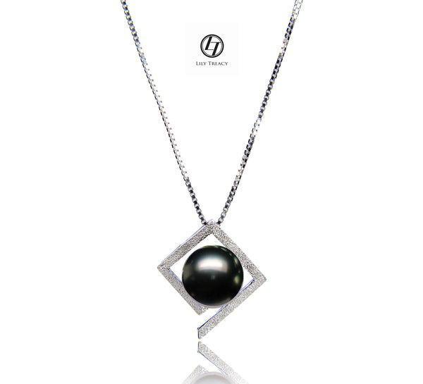 Lily Treacy Tahitian Pearl black pearl Solid White Gold Maria Pendant 10-11mm