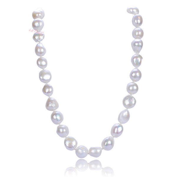 "15-20mm Freshwater Baroque Pearl Necklace Strand White 18"" wedding bridal gift"