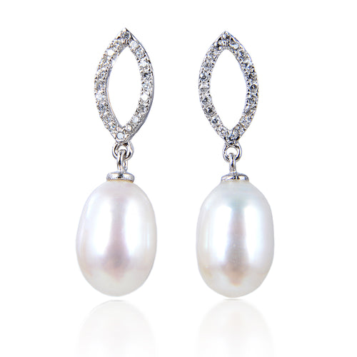 11-12mm Freshwater pearl dangle drop Earrings Sterling Silver CZ bridal white
