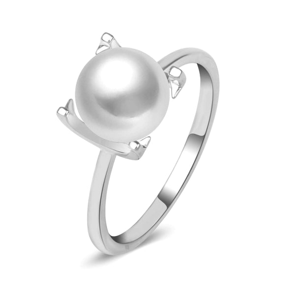 8-8.5 Akoya Saltwater Pearl in 10K Solid White /Y Gold Ring bridal, gift Size 7