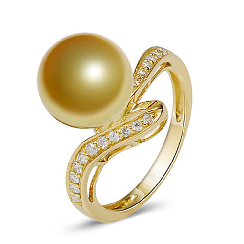 LILY TREACY 10-11MM GOLDEN SOUTH SEA PEARL DIAMOND ACCENTS RENEE RING