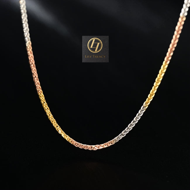 Solid 18K Tri color Yellow,White & Rose Gold 3 tone Diamond-cut chunky Adjustable Wheat Chain 20""