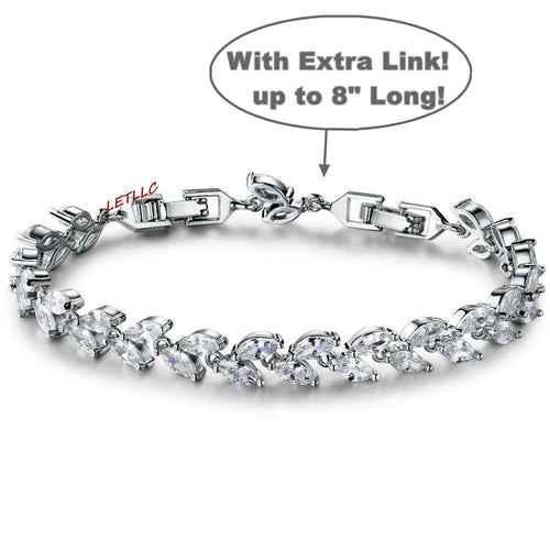 "Tennis Bracelet CZ Marquise Cut White Leaf 7""-8"" w/ extra link extension bridal"
