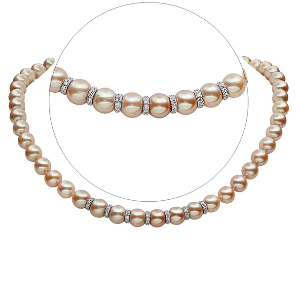 LILY TREACY 9-10MM METALLIC PINK FRESHWATER PEARL RACHELLE NECKLACE STRAND 18″ WITH RONDELLES