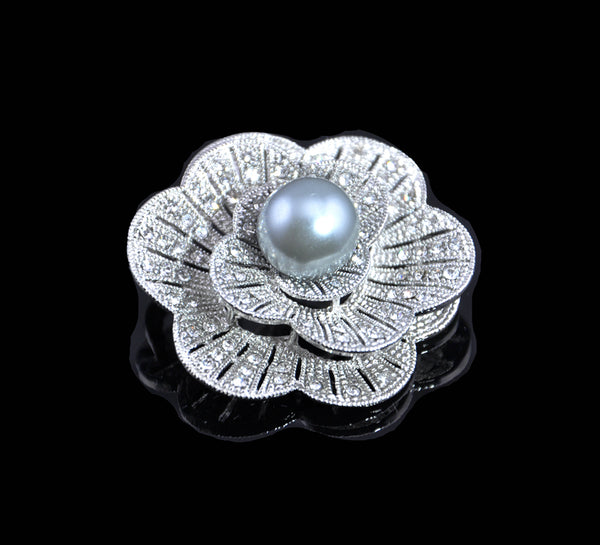 Pearl Brooch Pin with Russian CZ flower White or black for Bridal Wedding Gift