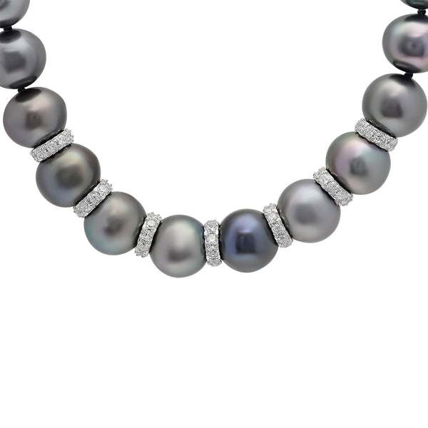 LILY TREACY 9-10MM BLACK FRESHWATER PEARL BELLA STRAND NECKLACE 18″