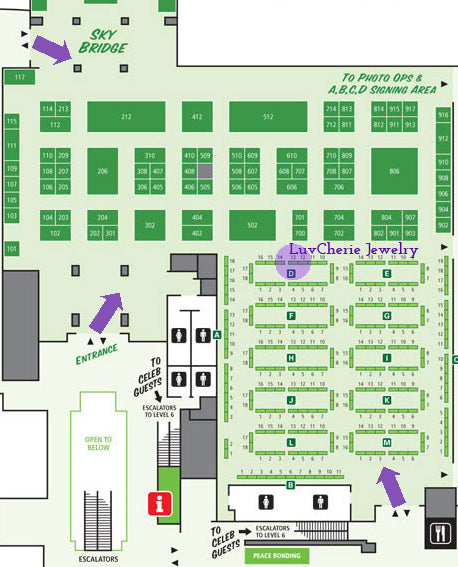 LuvCherie Jewelry at Emerald City Comicon Artist Alley D-13 Map