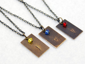 Team Instinct Inspired Necklace in Antique Brass - Pokemon Go Teams