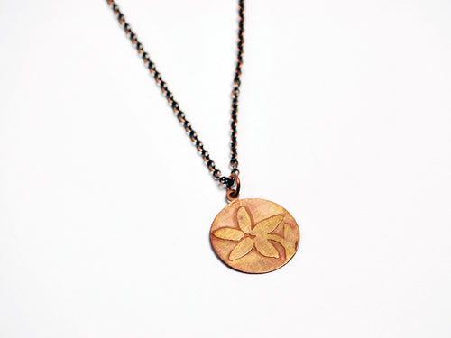 Etched Flower Necklace in Oxidized Copper