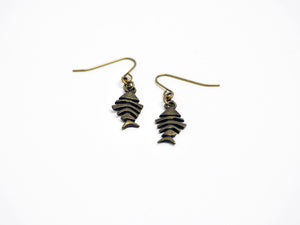 Fish Bone Earrings in Antique Brass