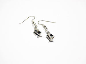 Fish Bone Earrings in Silver