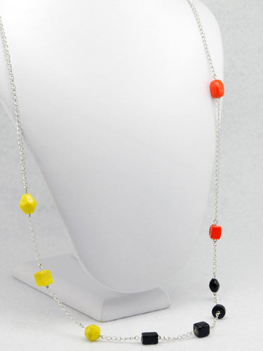 Silver Asymmetrical Orange Black and Yellow Beaded Necklace - LuvCherie Jewelry