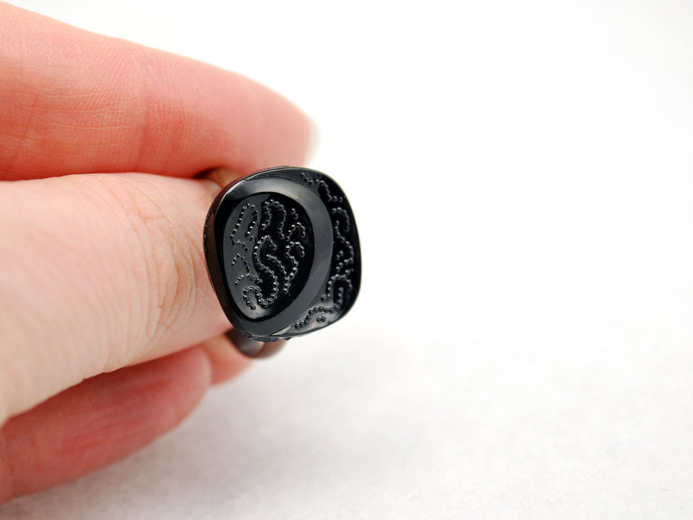 Square Black Ring in Antique Copper - Vintage Glass Ring, Adjustable Ring, Limited Edition