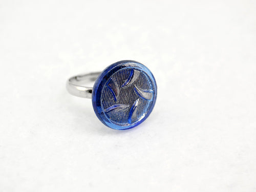 Blue Thorns Ring in Silver - Vintage Glass Ring, Adjustable Ring, Limited Edition