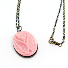 Pink Flower Cameo Necklace in Antique Brass