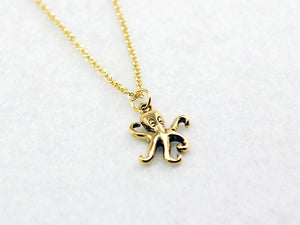 Gold Octopus Necklace - Ocean Necklace, Steampunk Necklace, Nautical, Marine Biologist, Cephalopod, Mermaid, Animal, Funny, Cute, Gift