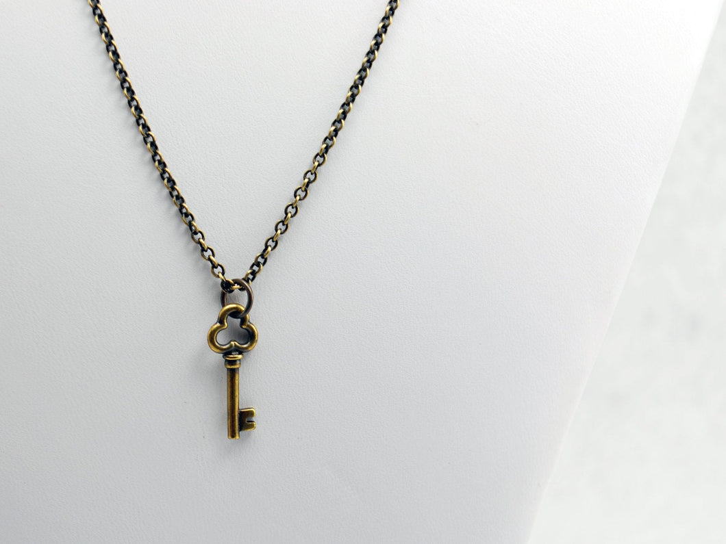 Antique Brass Clover Key Charm Necklace - LuvCherie Jewelry
