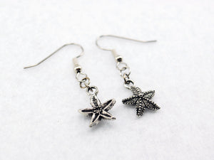 Silver Starfish Earrings - Silver Sea Star Earrings. Mermaid Earrings.