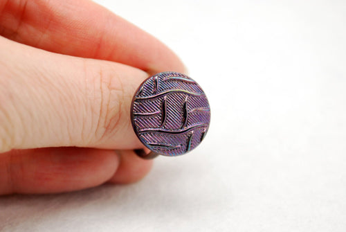 Purple Basketweave Ring in Antique Copper