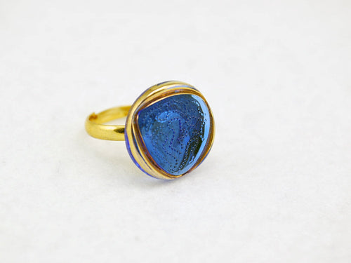 Blue and Gold Vintage Glass Triangle Ring with Adjustable Gold Band - LuvCherie Jewelry