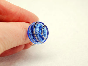 Blue and Silver Arches Vintage Glass Ring with Adjustable Silver Band - LuvCherie Jewelry
