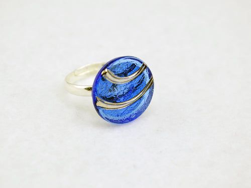 Blue & Silver Arches Ring in Silver - Vintage Glass Ring, Adjustable Ring, Limited Edition