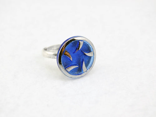Blue & Silver Thorns Ring in Silver - Vintage Glass Ring, Adjustable Ring, Limited Edition