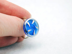 Blue and Silver Thorns Vintage Glass Ring with Adjustable Silver Band - LuvCherie Jewelry