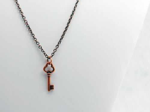 Clover Key Necklace in Antique Copper