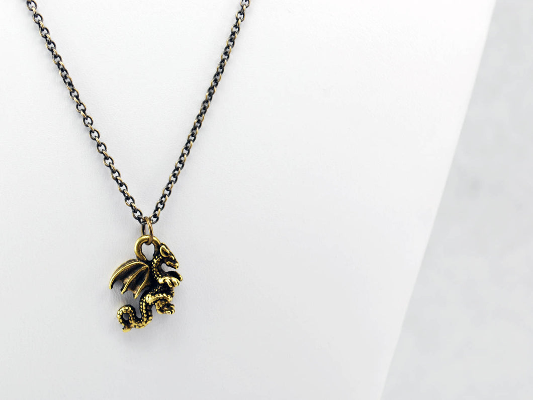 Dragon Necklace in Antique Brass