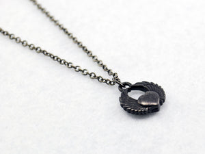 Black Heart With Wings Charm Necklace - LuvCherie Jewelry